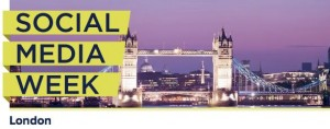 Social Media Week London logo with Tower Bridge in background